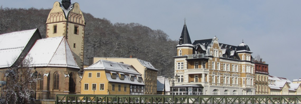 Winterlicher Blick auf Gera-Untermhaus mit St. Marienkirche
